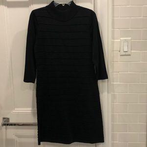 Tahari black knit dress midi